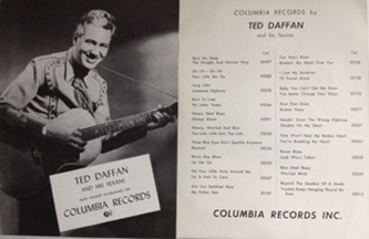 Daffan,Ted - Columbia Records 1950s two-sided poster