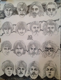 Beatles - 1964-1974 Drawing Poster