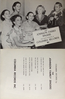 Johnson Family Singers - Columbia Records 1950s two-sided poster