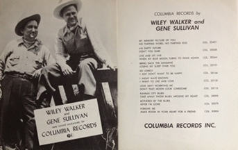 Walker,Wiley & Gene Sullivan - Columbia Records 1950s two-sided poster